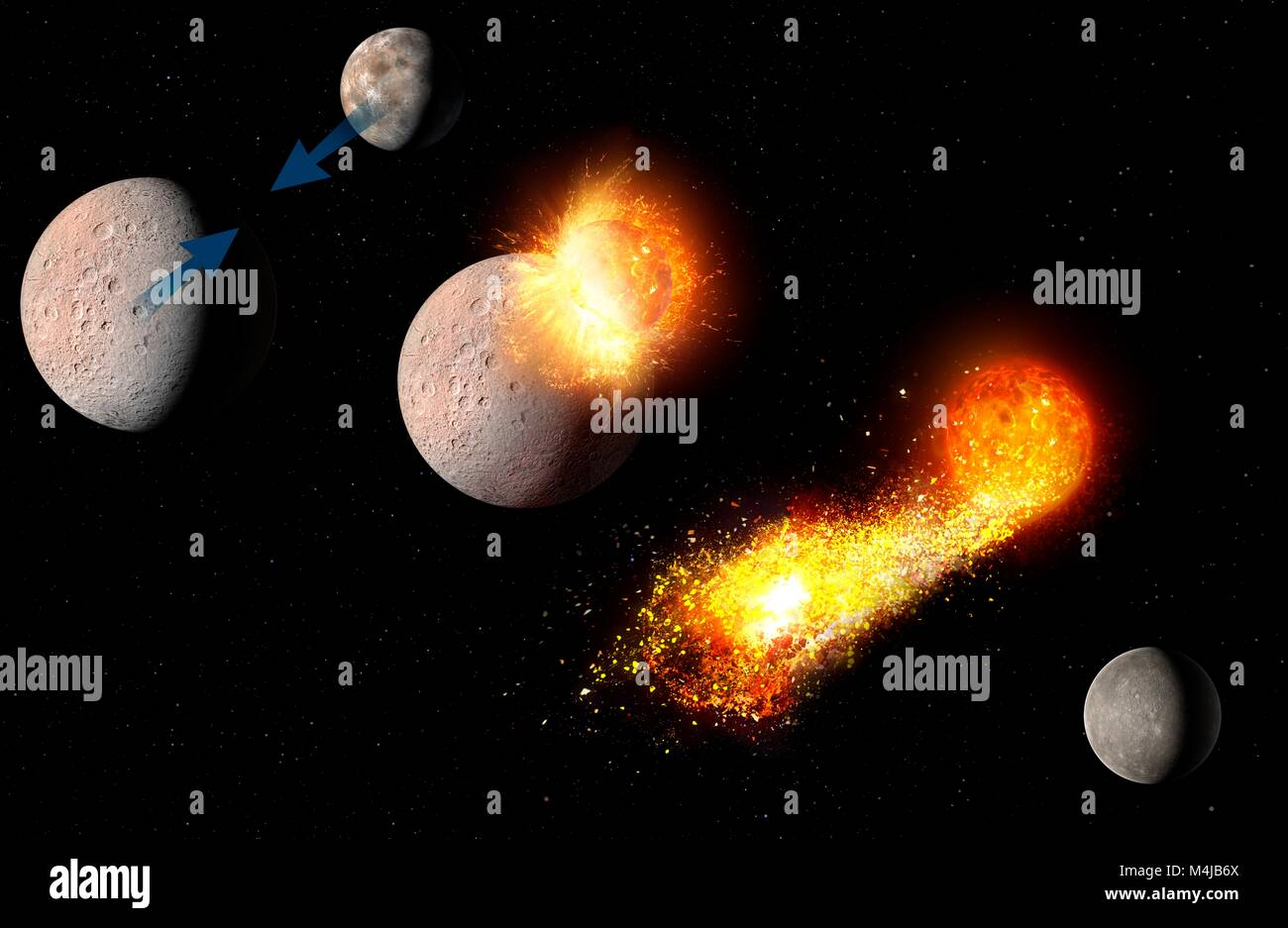 Evolution of Mercury, illustration. The innermost planet, Mercury, has a very substantial iron core, occupying much - Stock Image