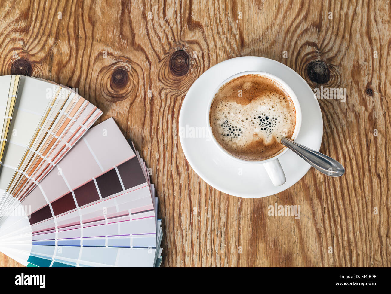 Color palette and coffee cup - Stock Image