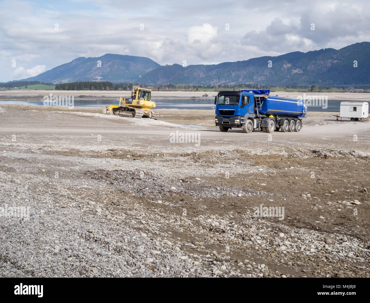 Construction work in the Forggensee_blue - Stock Image