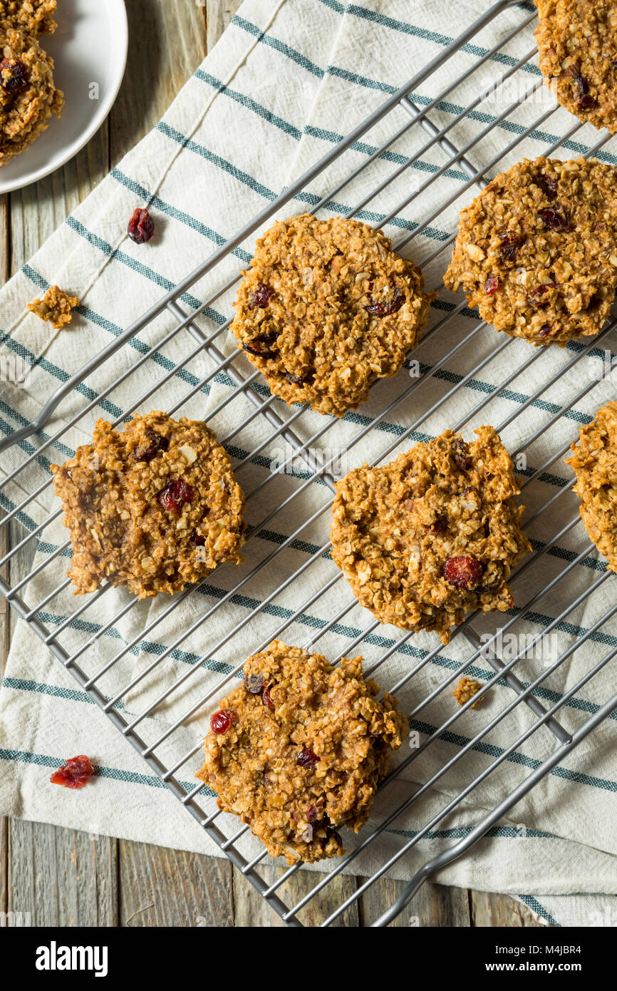 Vegan Healthy Breakfast Cookies with Oats Peanut Butter and Banana Stock Photo