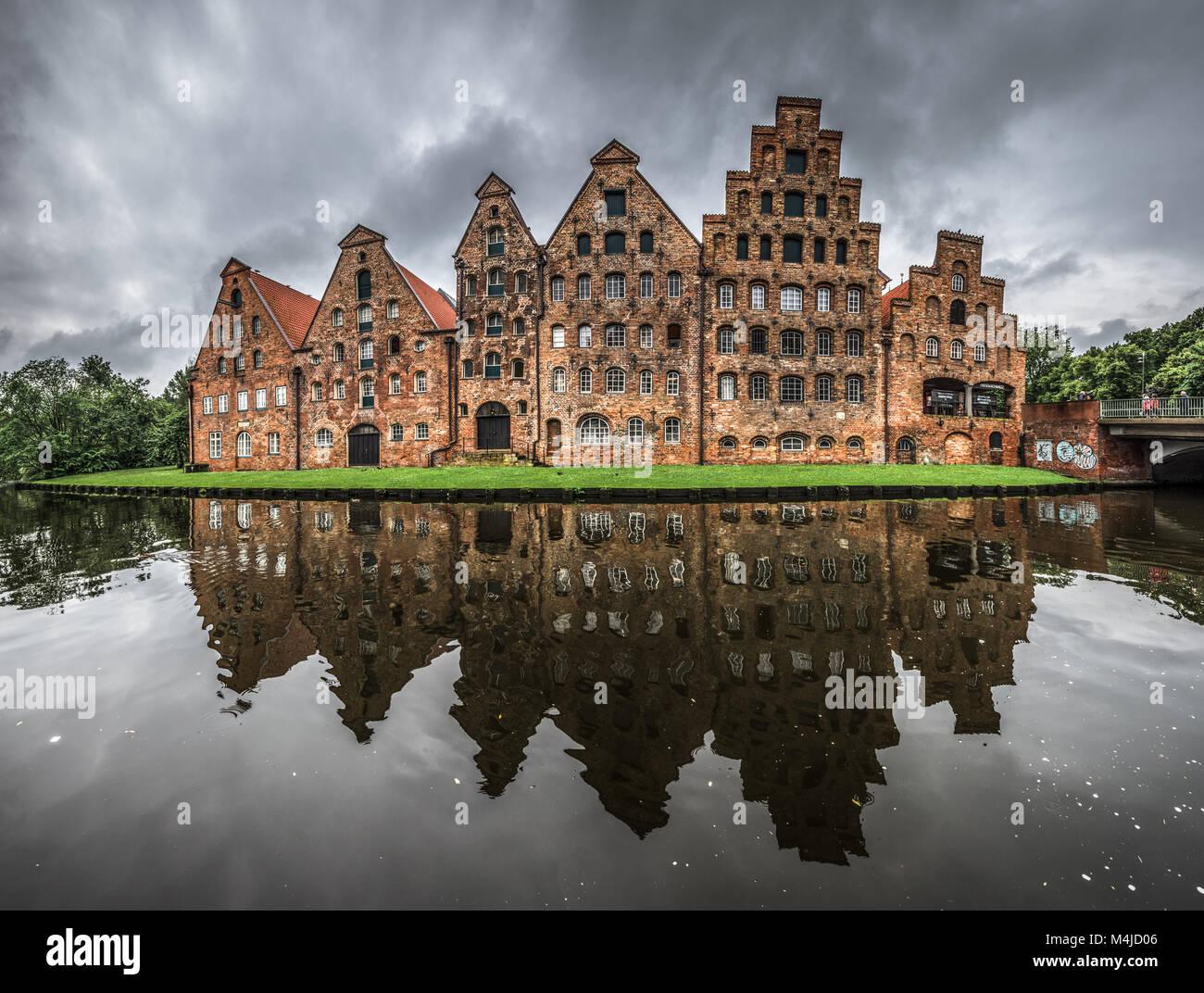 Salzspeicher, historic salt storage warehouses in Lubeck, Germany - Stock Image