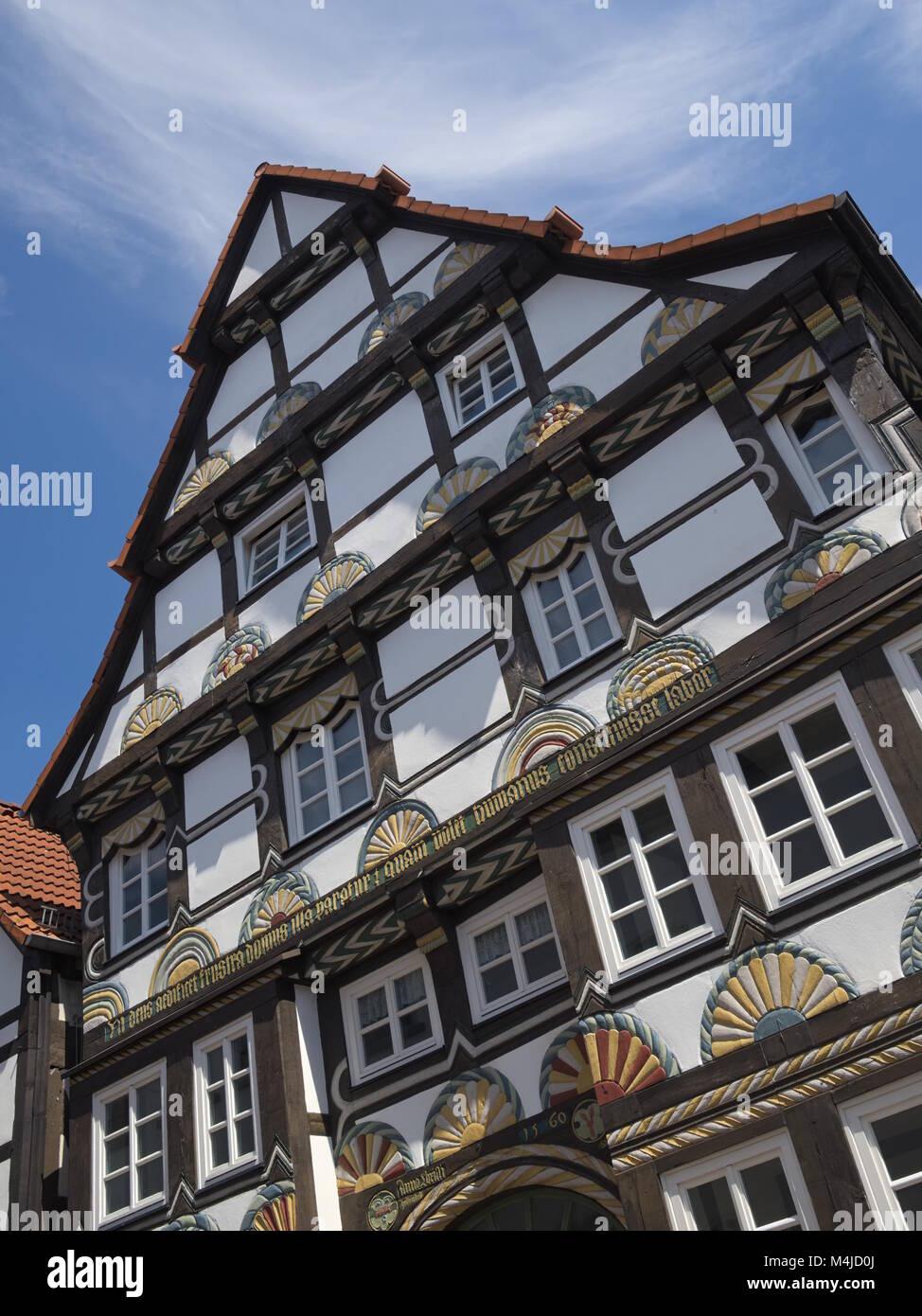 Hamelin - Half-timbered house, Germany - Stock Image