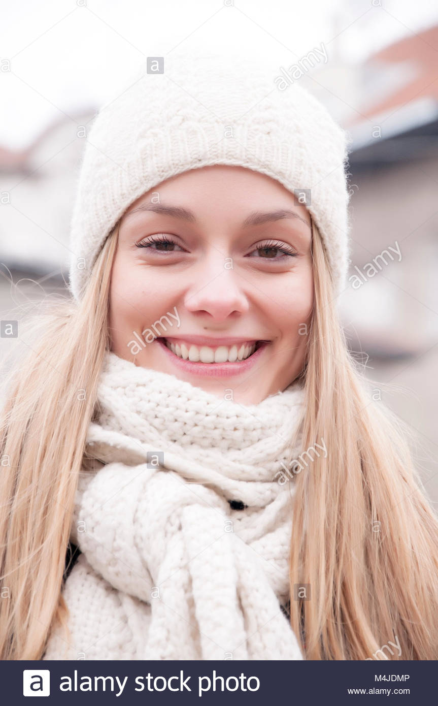 461bae43fb1c8 Beautiful young woman in winter jacket