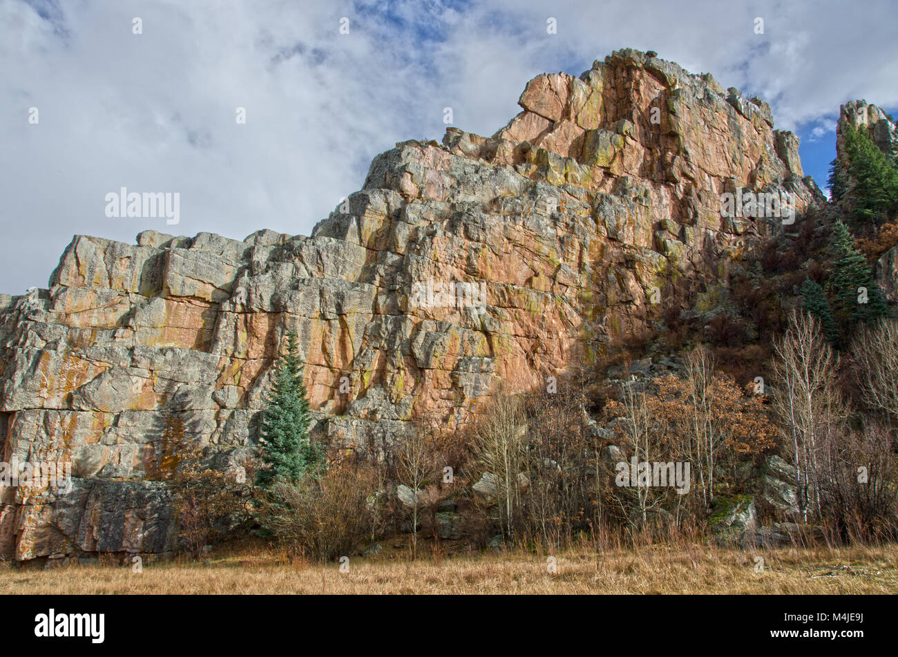 The stone wall in Stonewall, Colorado looks to be granite, but it is actually sandstone. - Stock Image