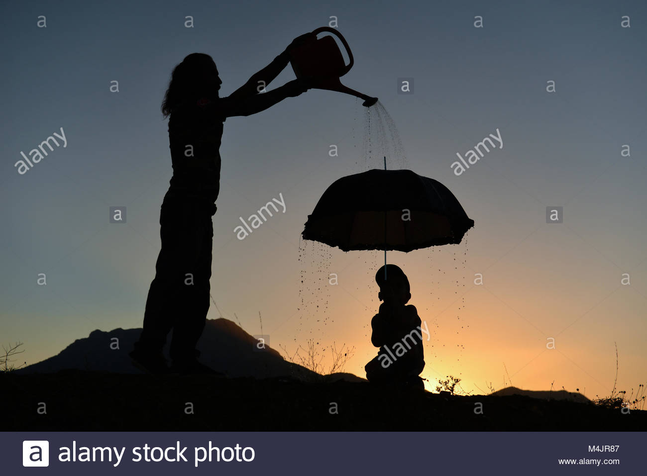 Practical training for a father's child - Stock Image