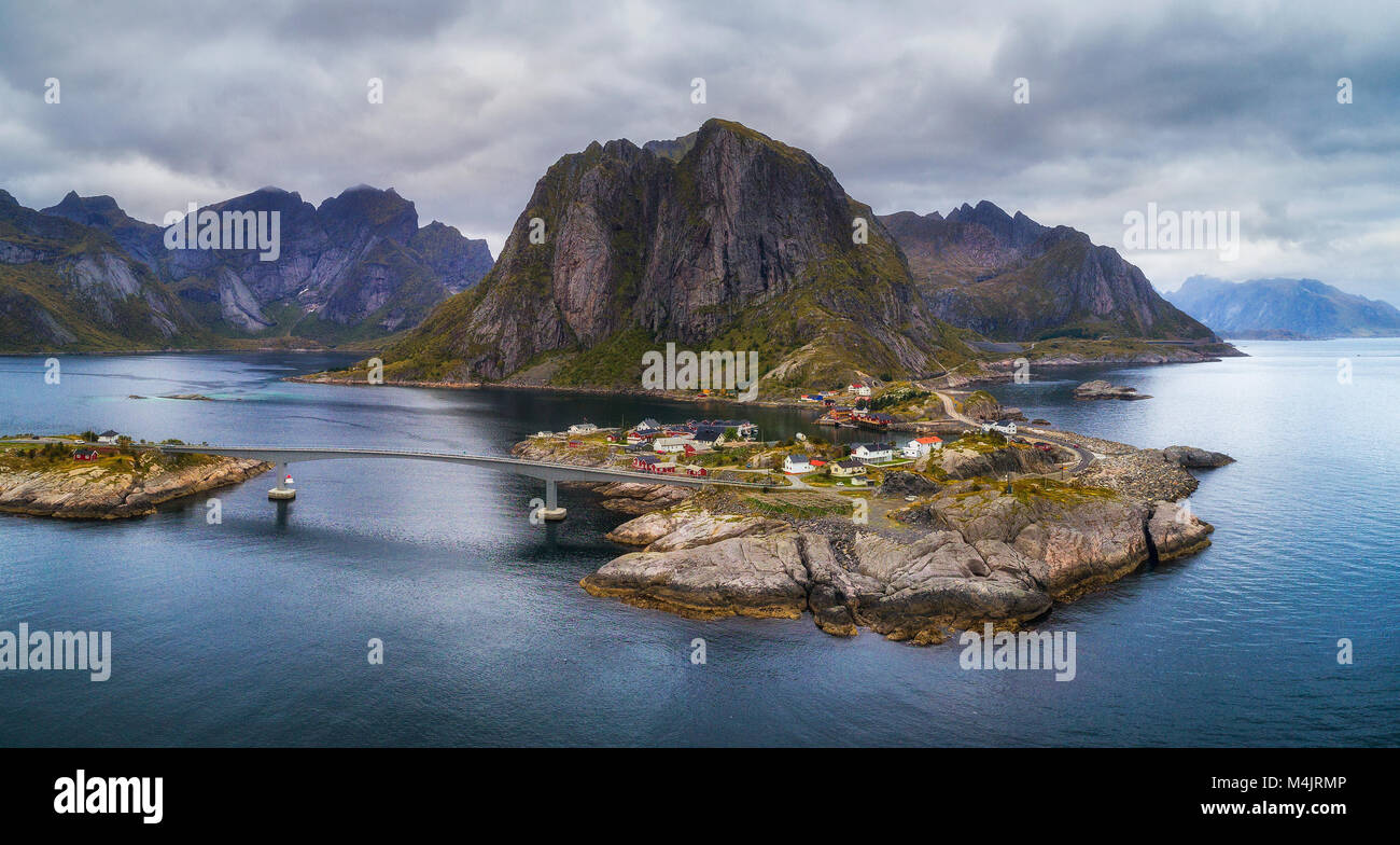 Aerial view of Hamnoy fishing village in Norway - Stock Image