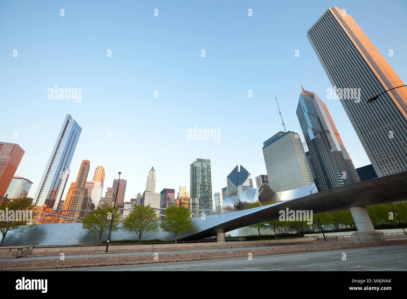 Chicago, Illinois, United States - Michigan Avenue skyline and BP Pedestrian Bridge in Chicago, Illinois, USA Stock Photo