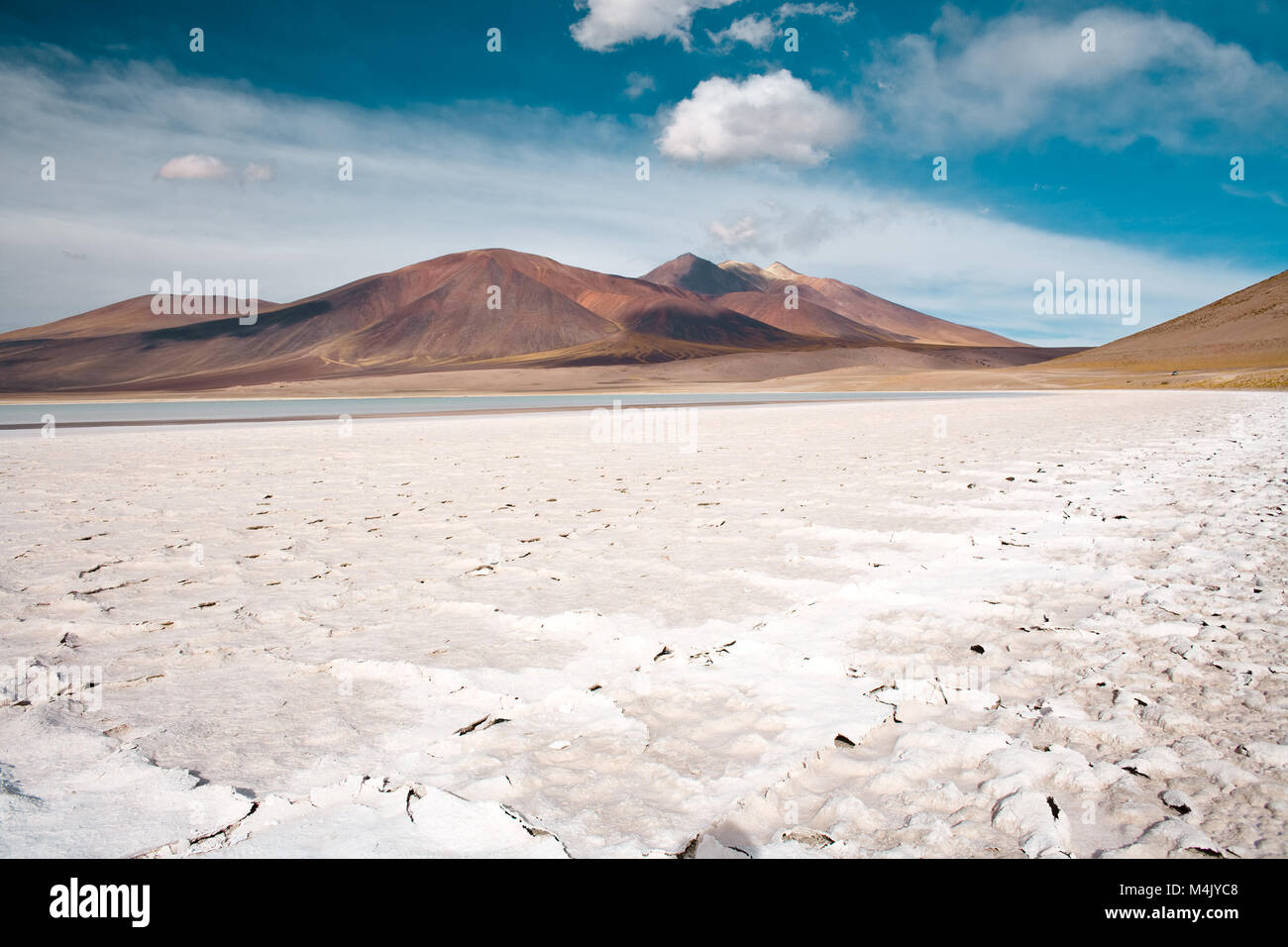 Tuyajto lagoon and salt lake in the Altiplano (high Andean plateau) over 4000 meters over the sea level with salt Stock Photo