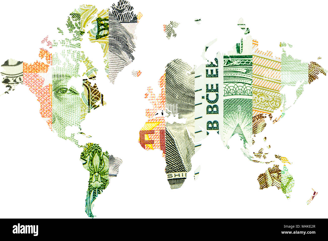 worldwide usage of american dollar, euro, chinese yuan and russian ruble, - Stock Image