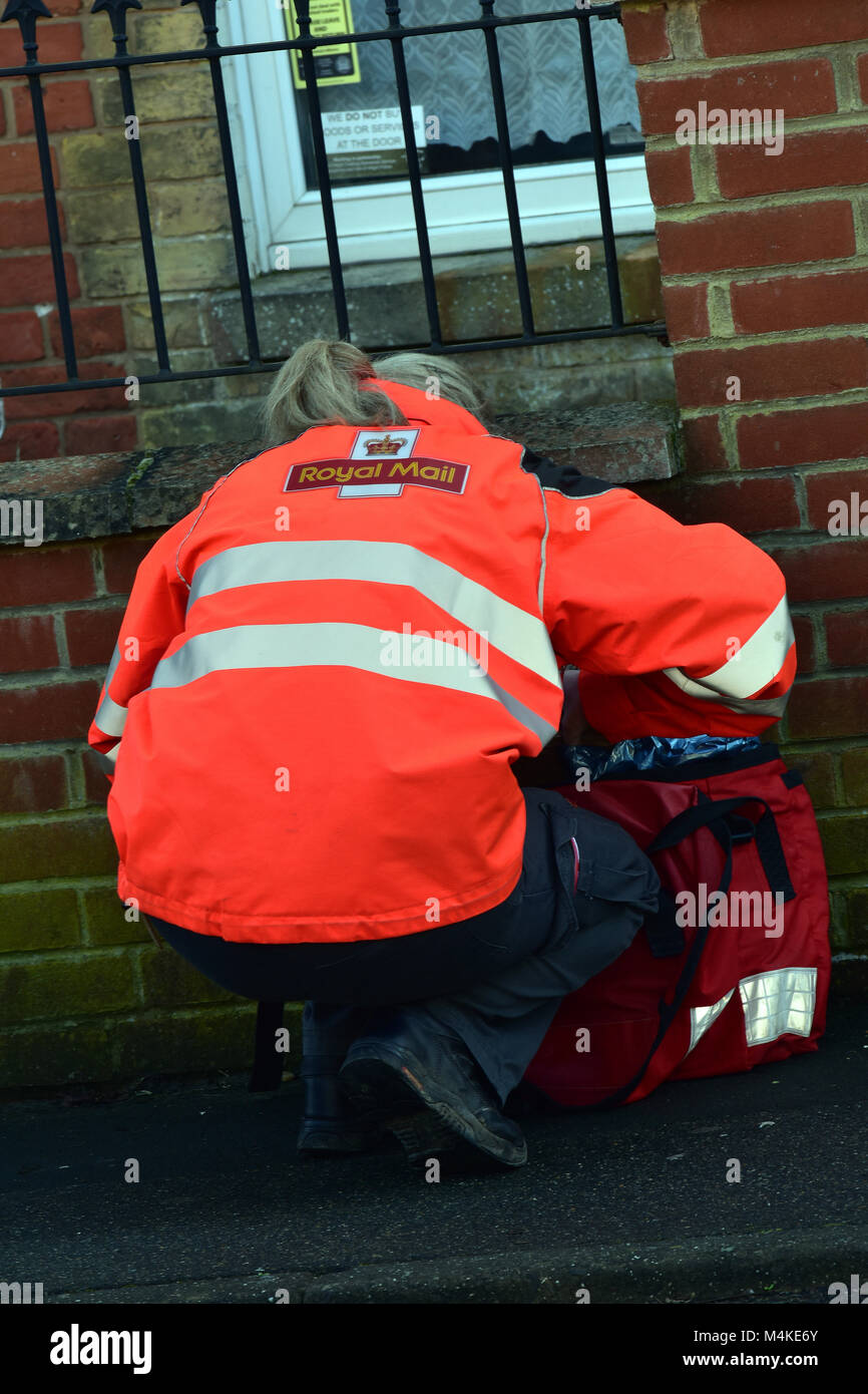 a postal worker woman bending over to look into a mail sack or bag while on a delivery round. postman delivering - Stock Image