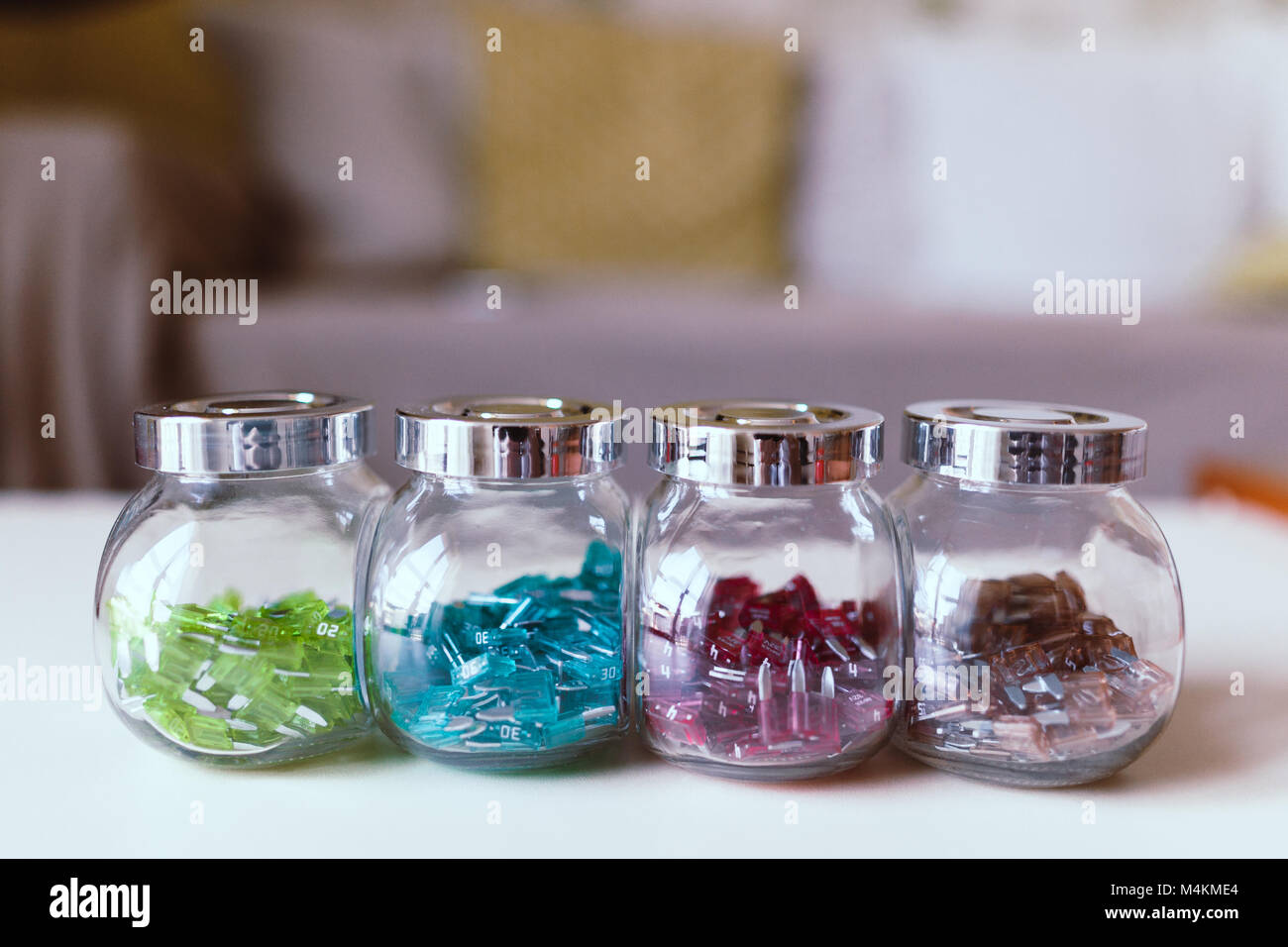 Electric Fuse Box Car Stock Photos Parts Colorful Mini Fuses In Kitchen Spice Rack On Desk Soft Focus