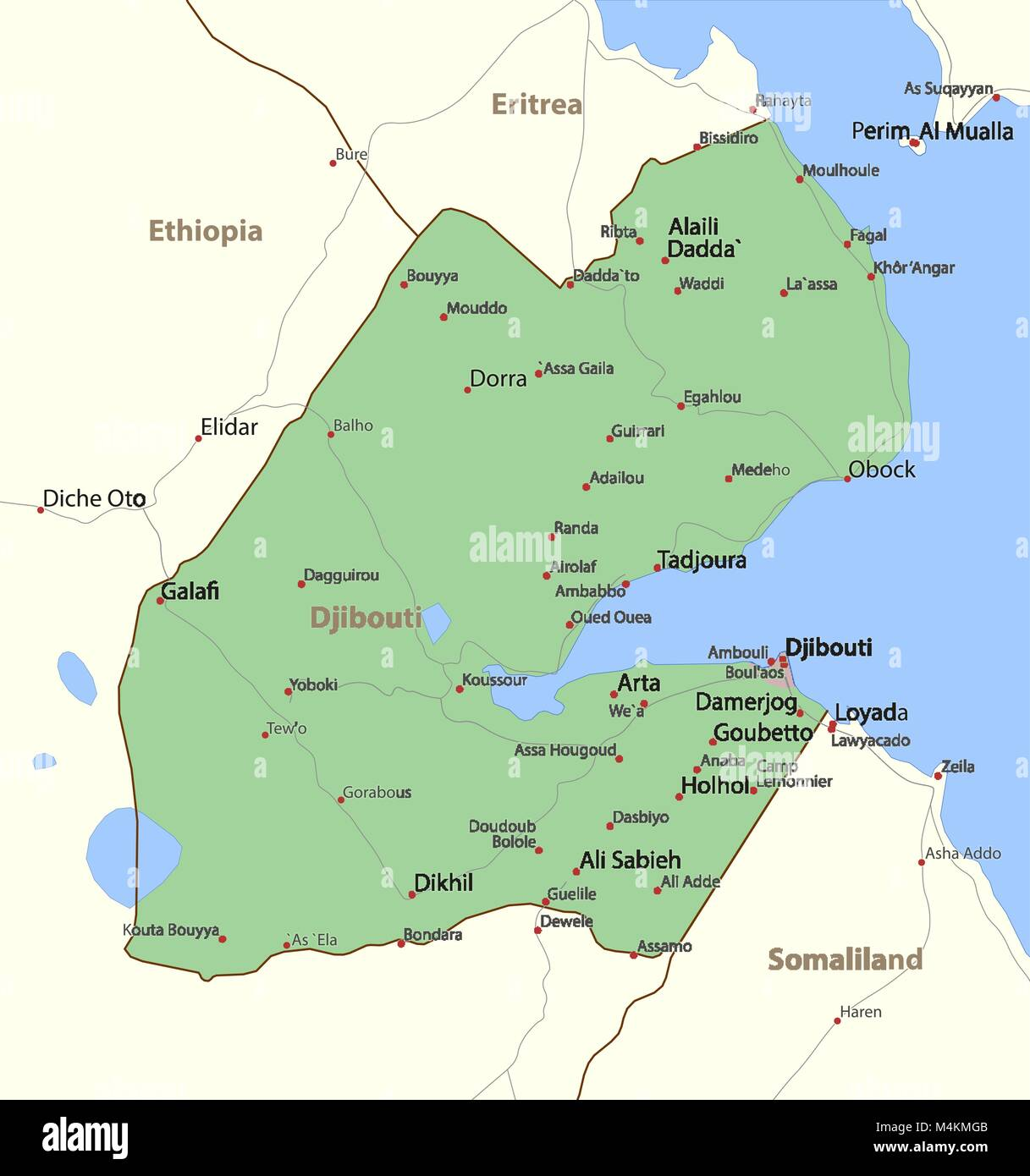 Outline Map Country Djibouti Stock Photos & Outline Map Country ...