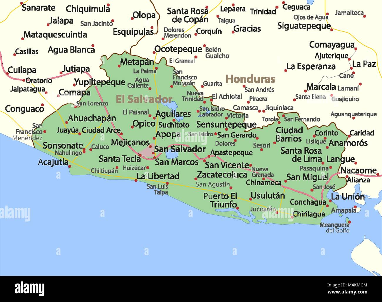 Map Of El Salvador Stock Photos & Map Of El Salvador Stock Images ...