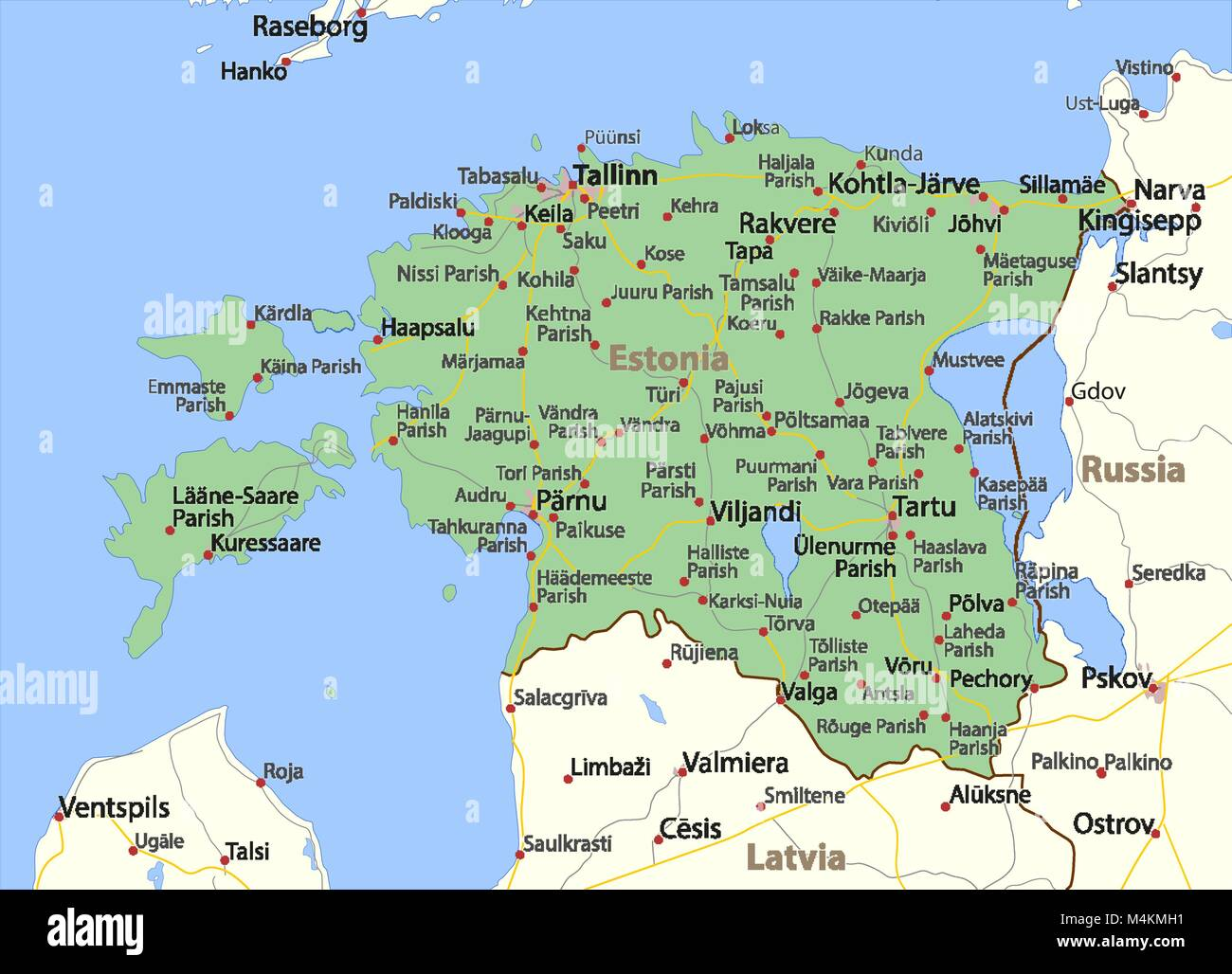 Map of Estonia. Shows country borders, urban areas, place ...