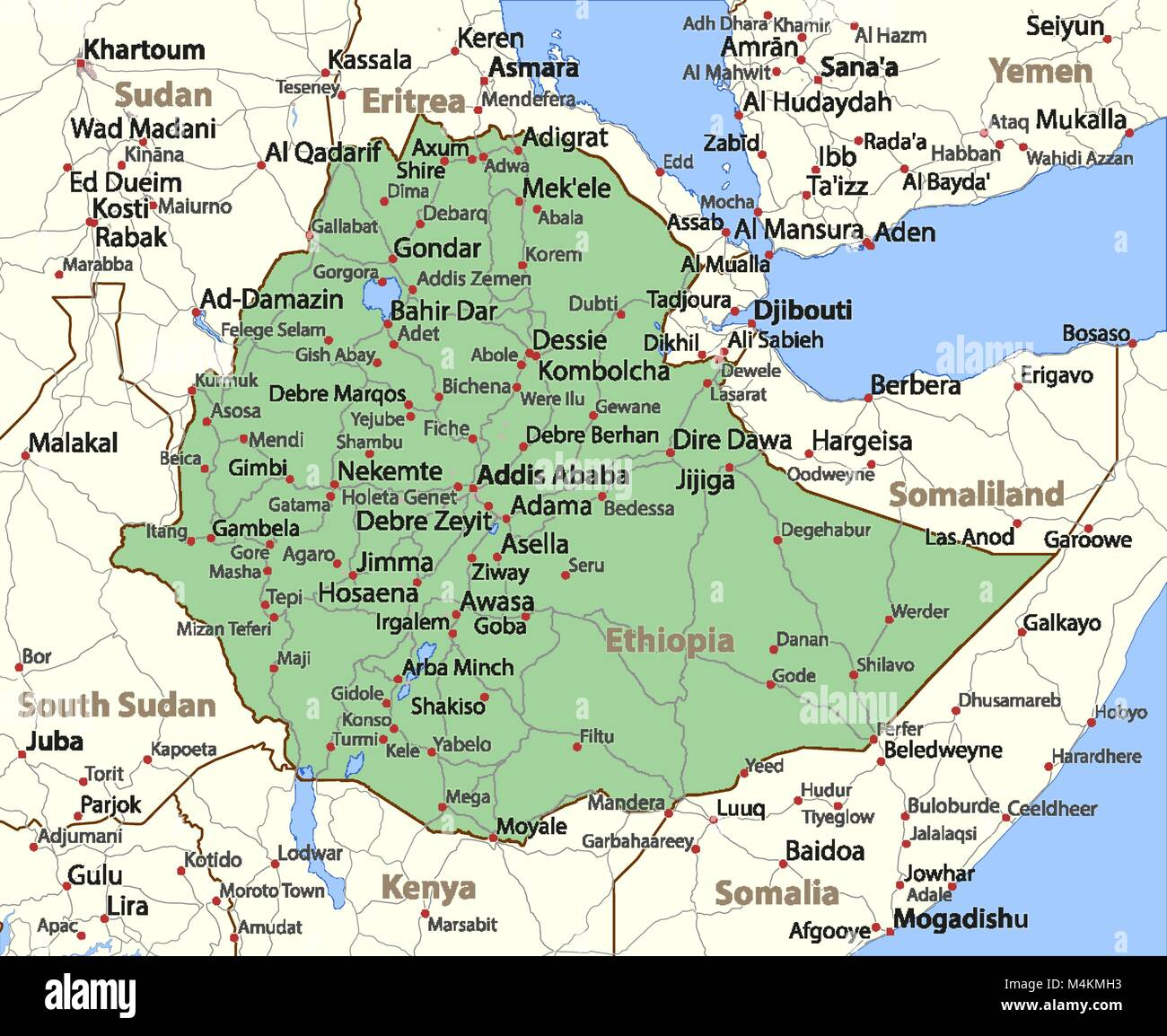 Map of Ethiopia. Shows country borders, urban areas, place names and roads. Labels in English where possible. Projection: - Stock Vector
