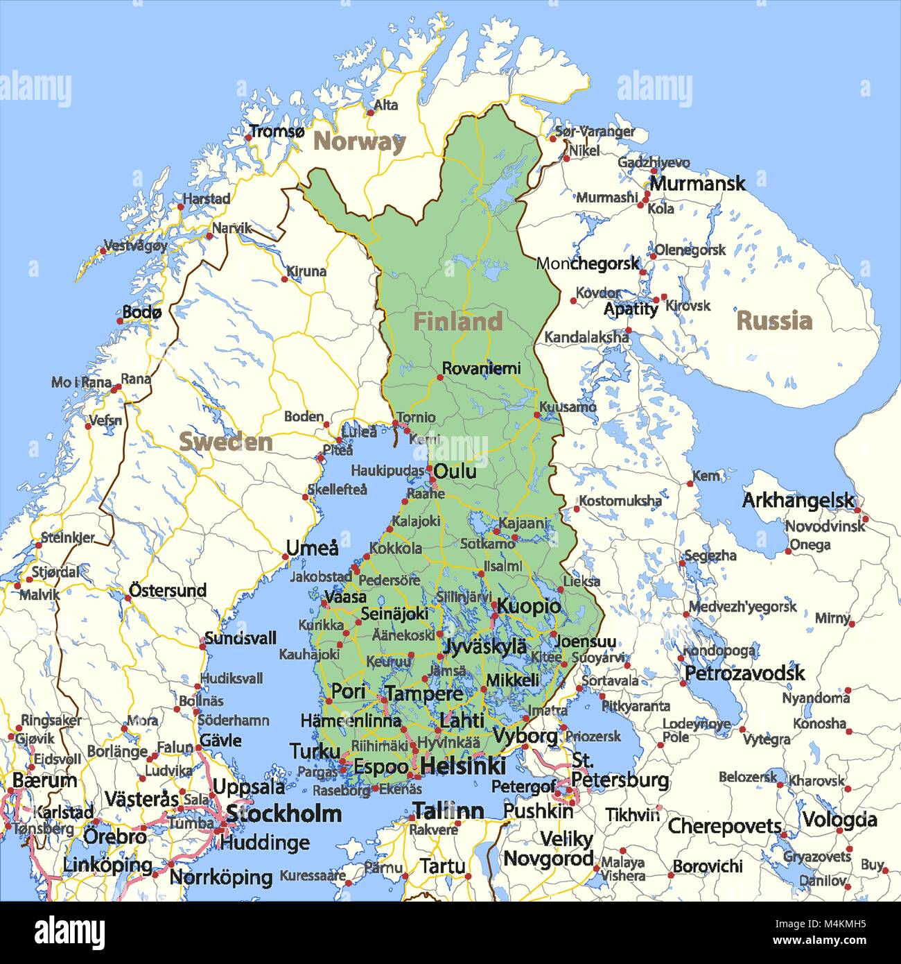 Finland country map stock photos finland country map stock images map of finland shows country borders urban areas place names and roads gumiabroncs Gallery