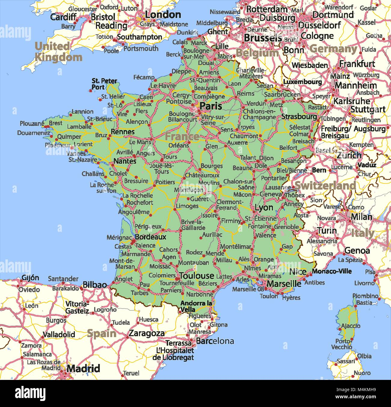Map Of France In English.Map Of France Shows Country Borders Urban Areas Place Names And