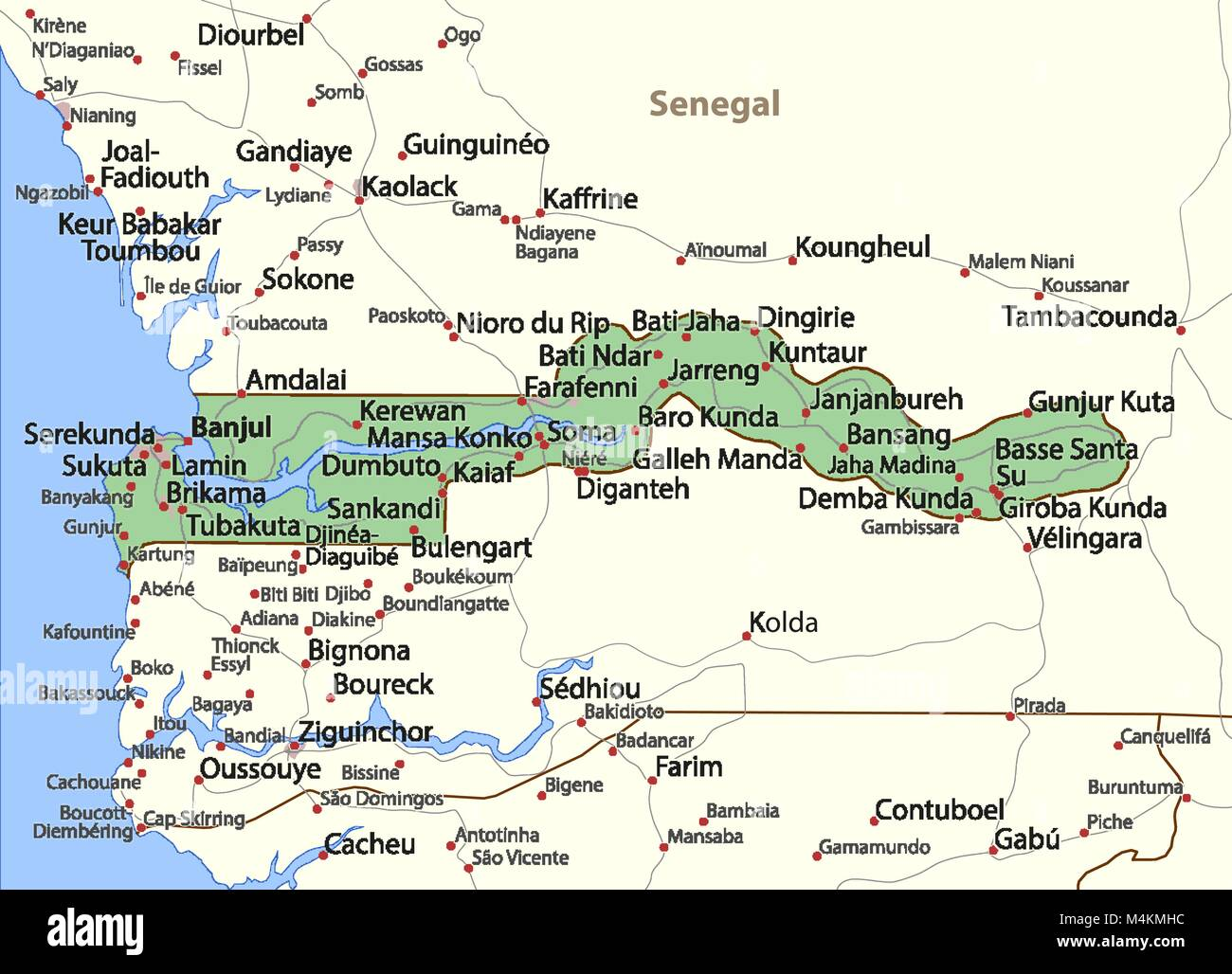 Map Of Gambia Stock Photos Map Of Gambia Stock Images Alamy