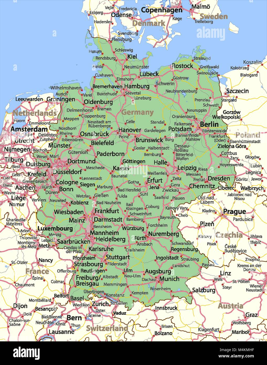 Show Map Of Germany.Map Of Germany Shows Country Borders Urban Areas Place Names And