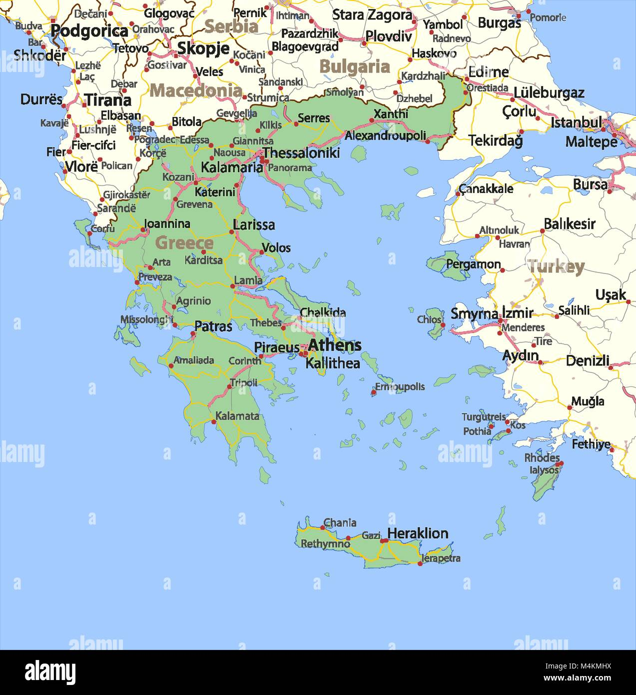 Map Of Greece Stock Photos Map Of Greece Stock Images Alamy
