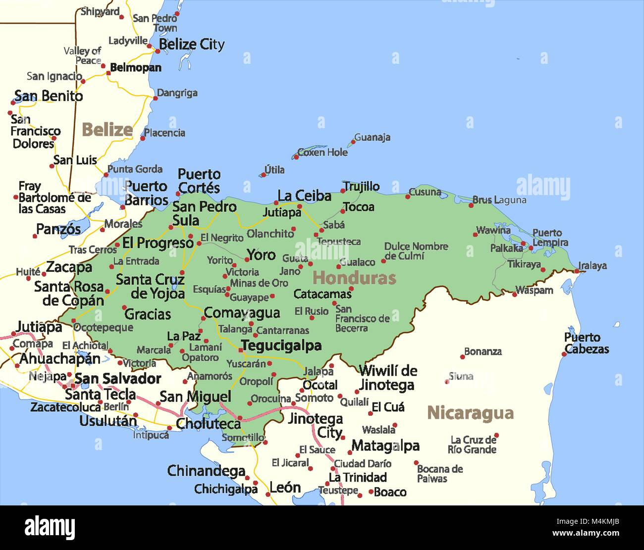 Map of honduras shows country borders urban areas place names and map of honduras shows country borders urban areas place names and roads labels in english where possible projection mercator gumiabroncs Gallery