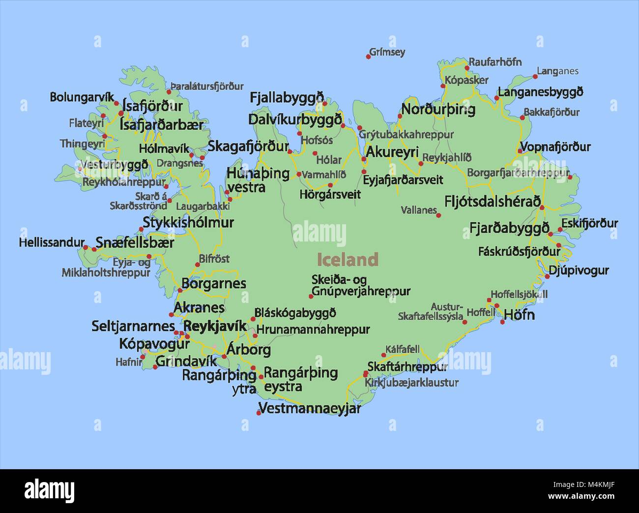 Map of Iceland. Shows country borders, urban areas, place names and ...