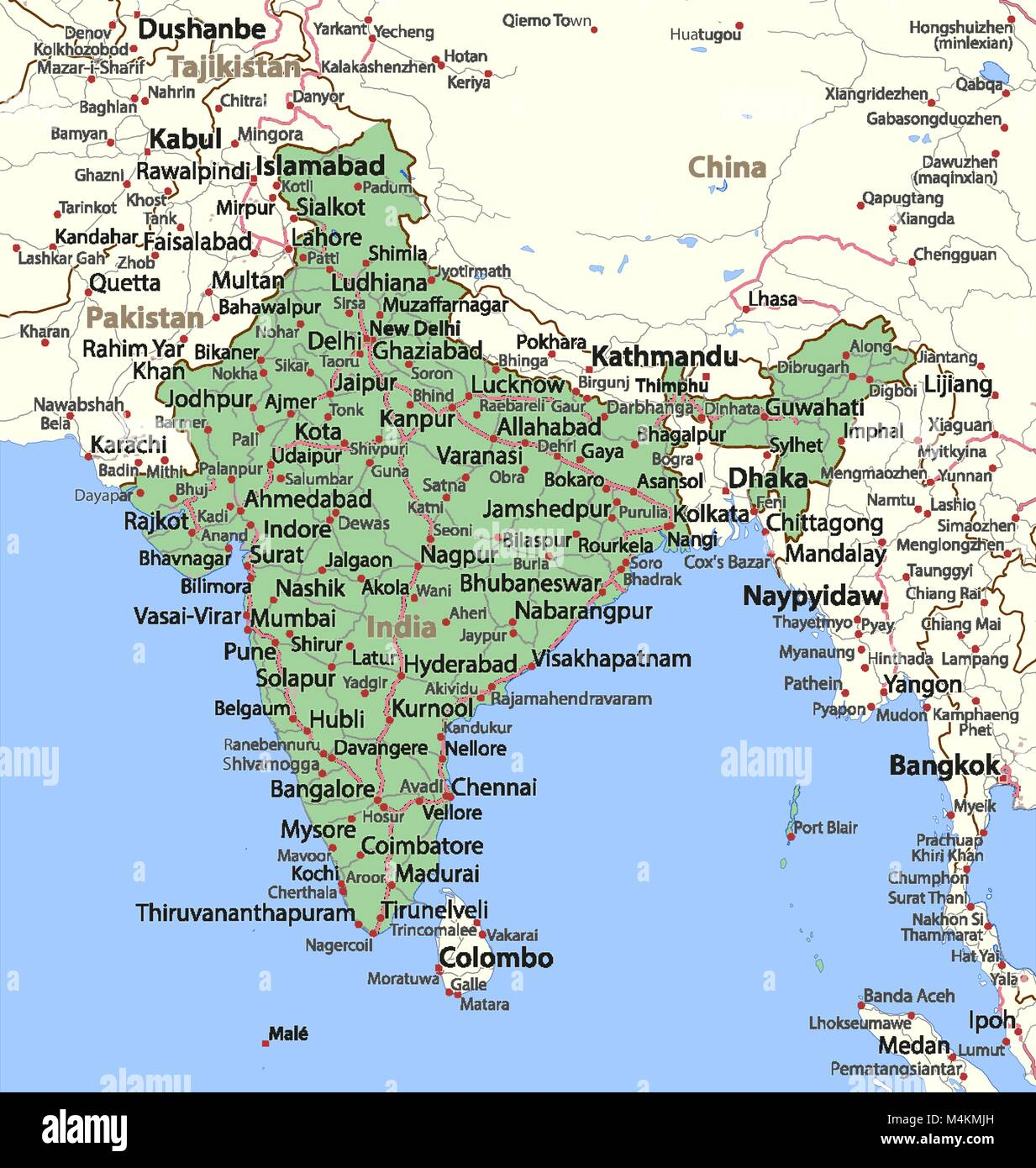 India Map With States Stock Photos & India Map With States Stock ...