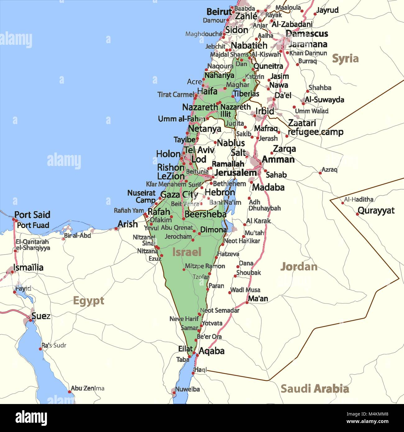 Map of Israel Shows country borders urban areas place names and