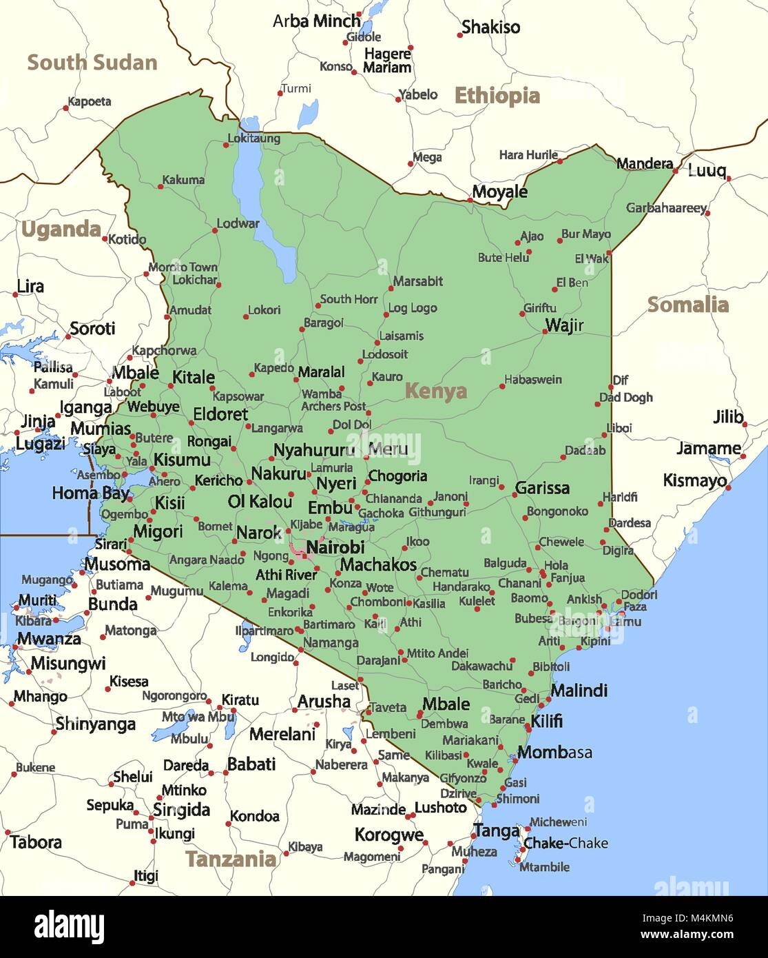 Map of kenya shows country borders urban areas place names and map of kenya shows country borders urban areas place names and roads labels in english where possible projection mercator gumiabroncs Gallery