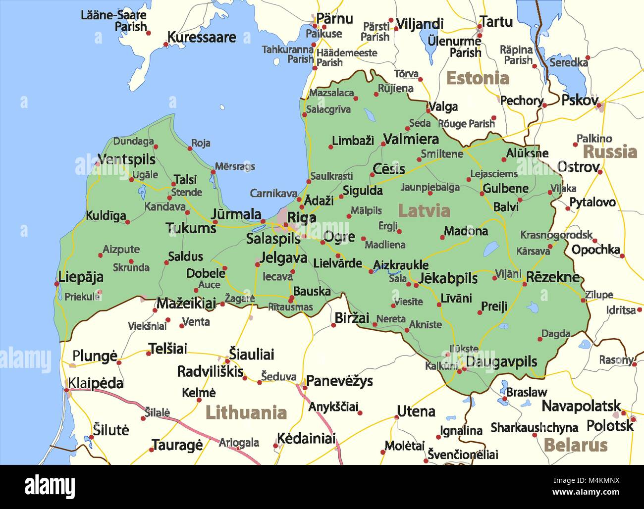 Map of Latvia Shows country borders urban areas place names and
