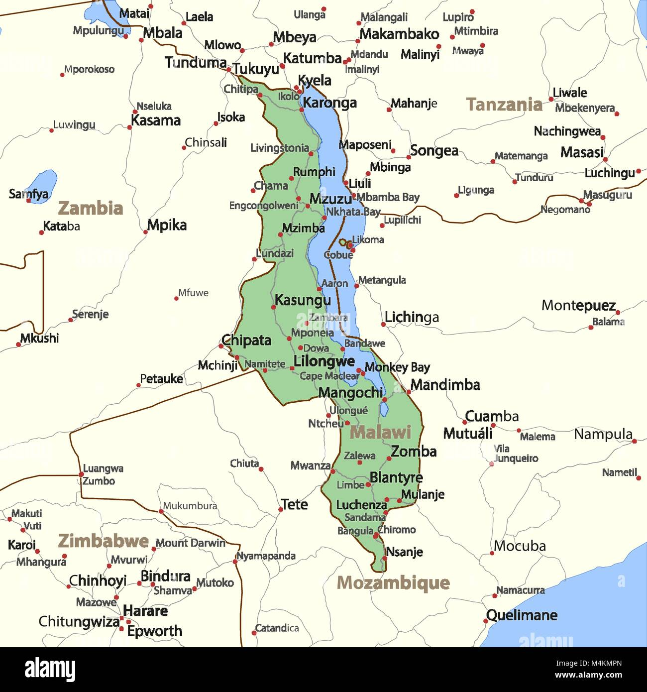 Map of Malawi Shows country borders place names and roads Labels