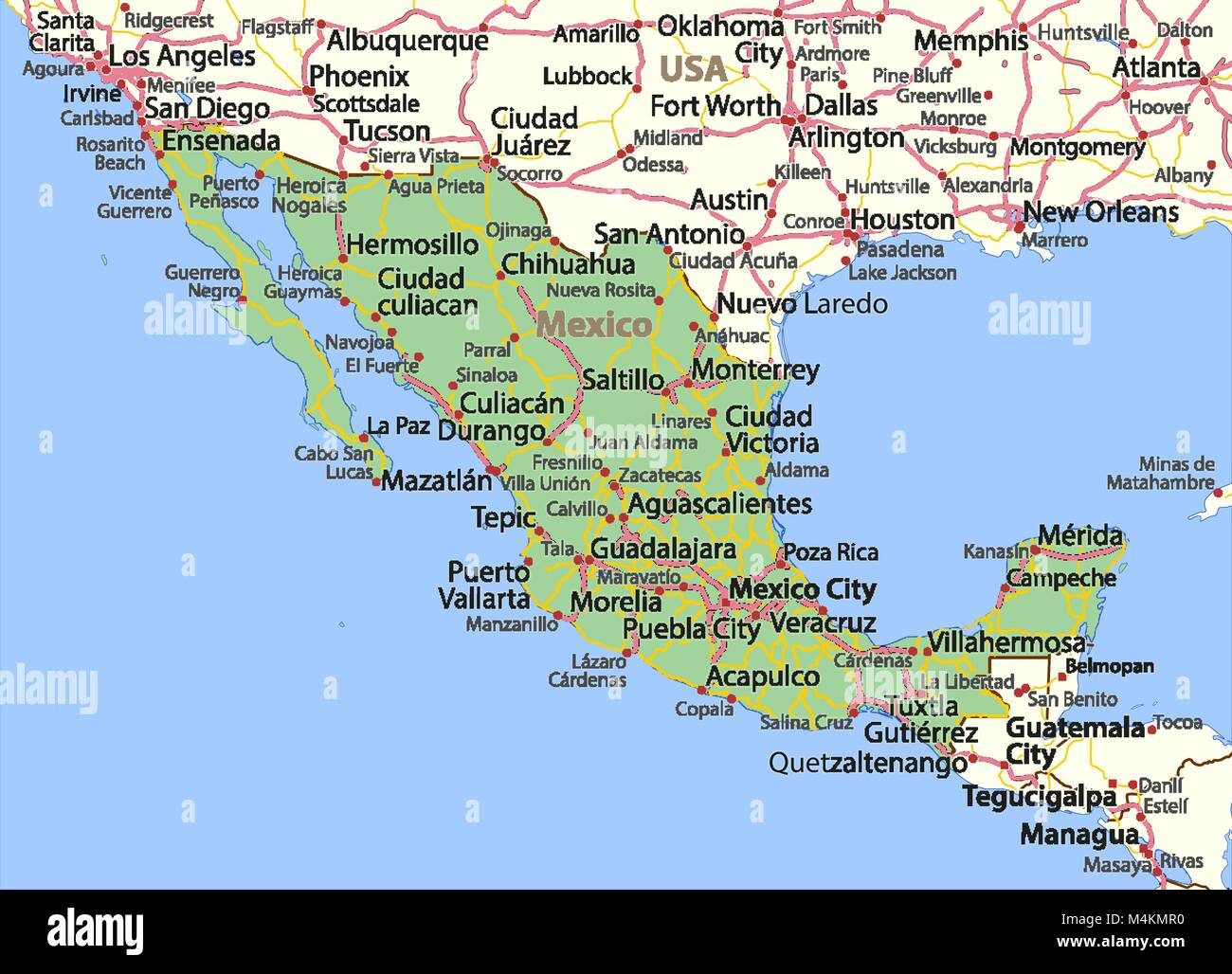 Map Of Mexico Shows Country Borders Place Names And Roads Labels