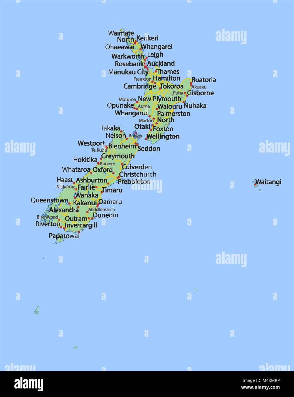 Show Map Of New Zealand.Map Of New Zealand Shows Country Borders Urban Areas Place Names