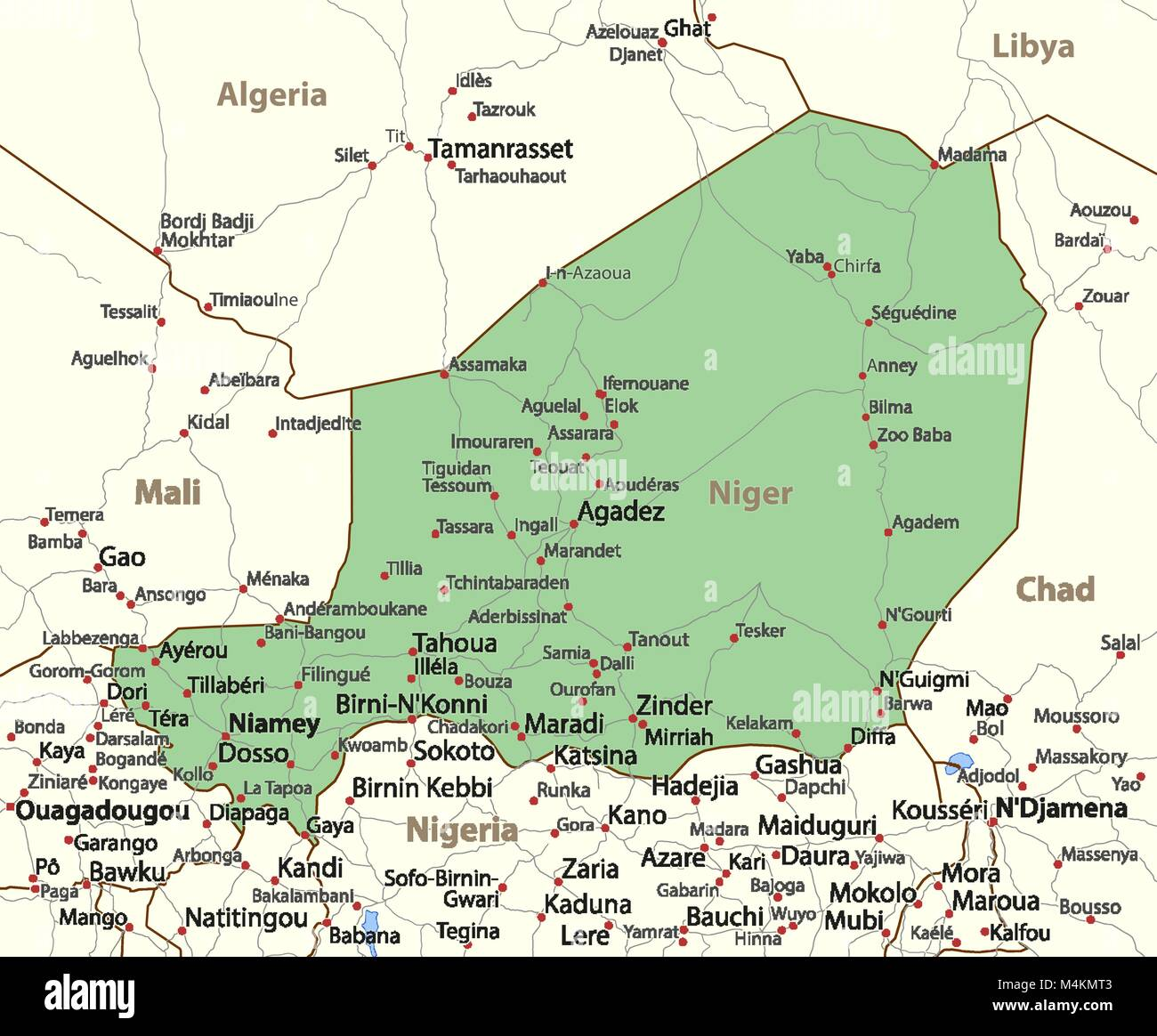 Map of niger shows country borders place names and roads labels map of niger shows country borders place names and roads labels in english where possible projection mercator gumiabroncs Gallery