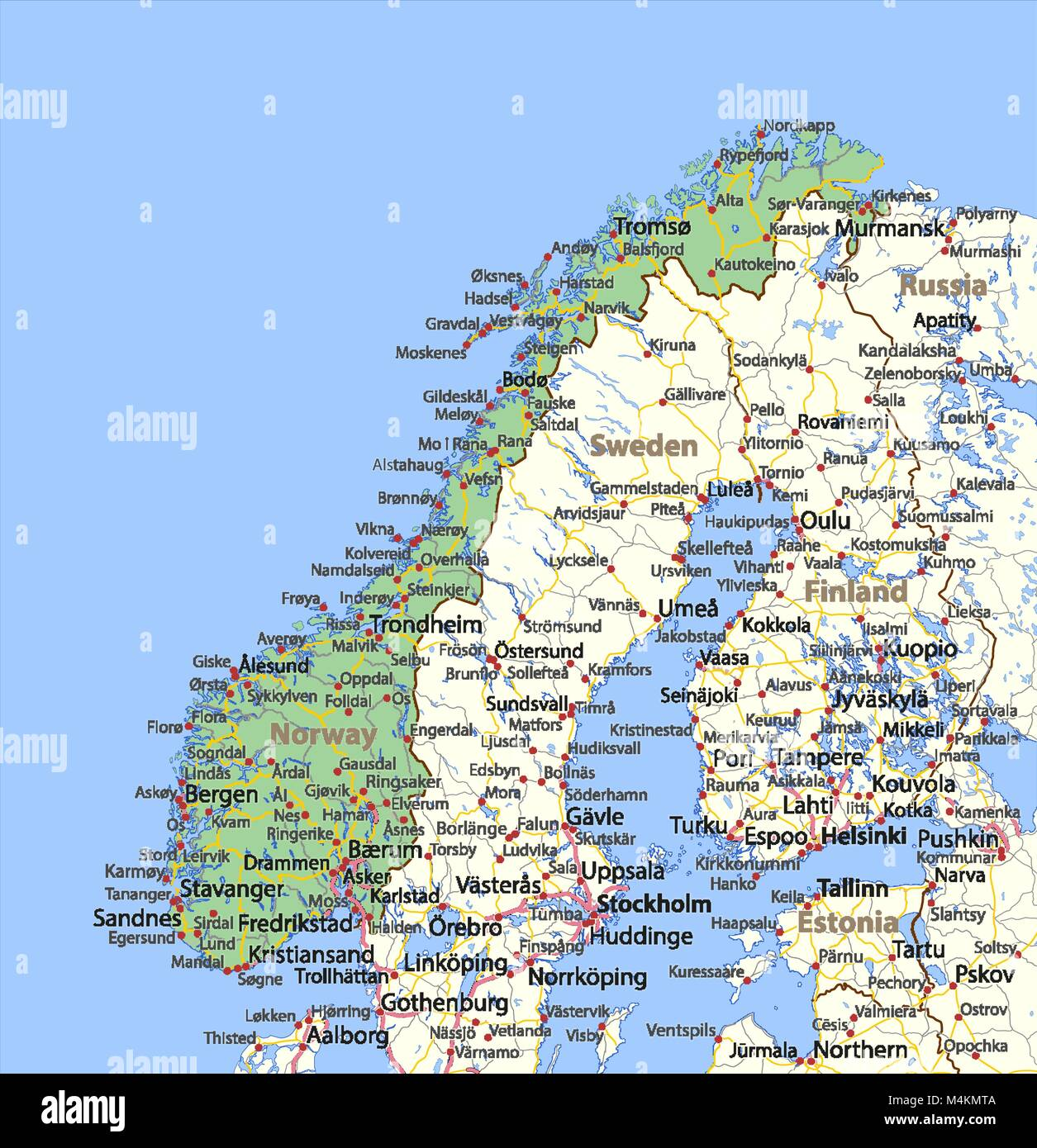 Map of norway shows country borders urban areas place names and map of norway shows country borders urban areas place names and roads labels in english where possible projection lambert conformal conic gumiabroncs Choice Image