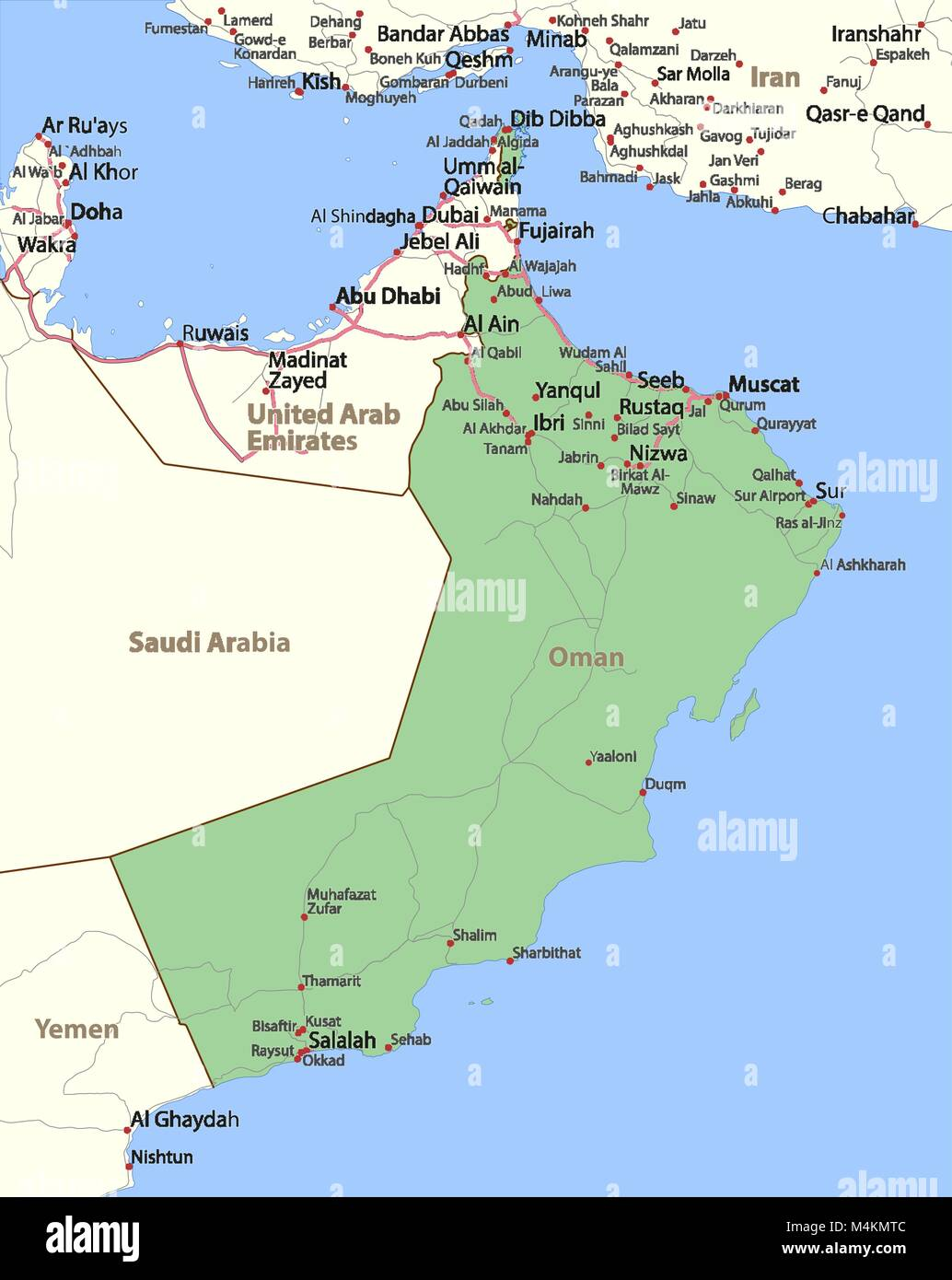 Map of Oman  Shows country borders, place names and roads  Labels in