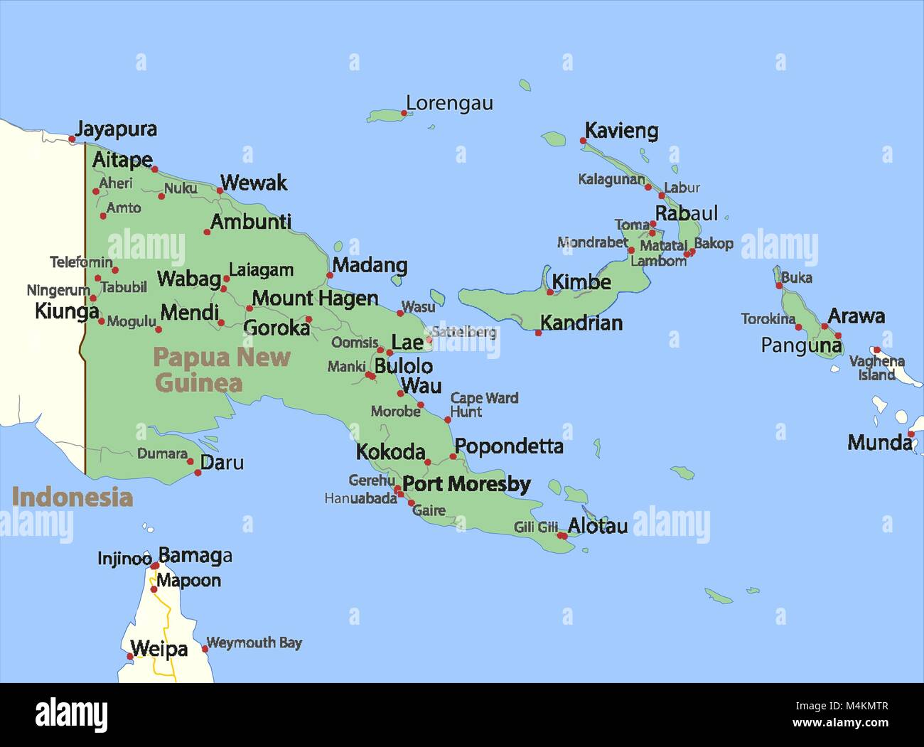 Map of Papua New Guinea. Shows country borders, urban areas, place ...