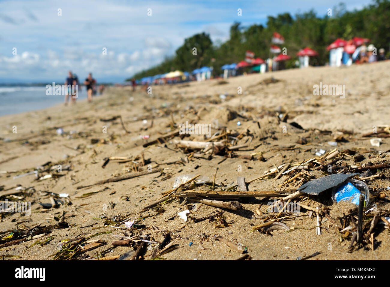 Beach pollution in Bali Indonesia. - Stock Image