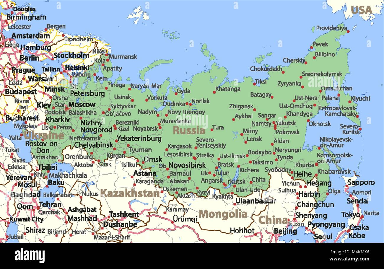 Map of russia shows country borders place names and roads labels map of russia shows country borders place names and roads labels in english where possible projection lambert conformal conic gumiabroncs Choice Image