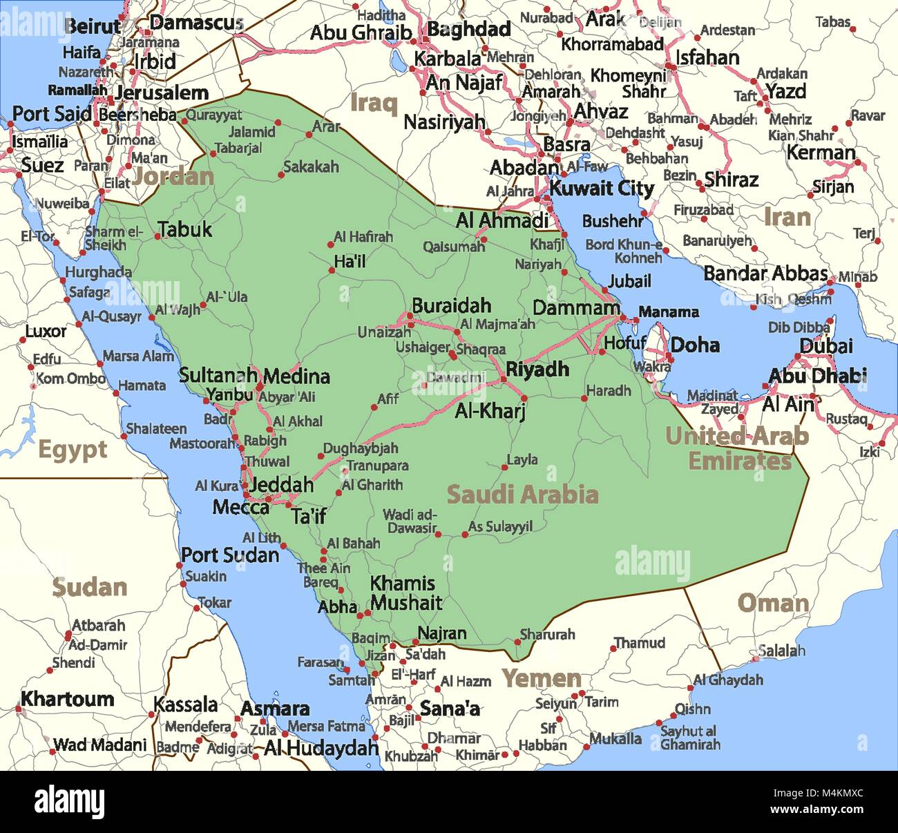 Map of saudi arabia shows country borders urban areas place names map of saudi arabia shows country borders urban areas place names and roads labels in english where possible projection mercator gumiabroncs Choice Image