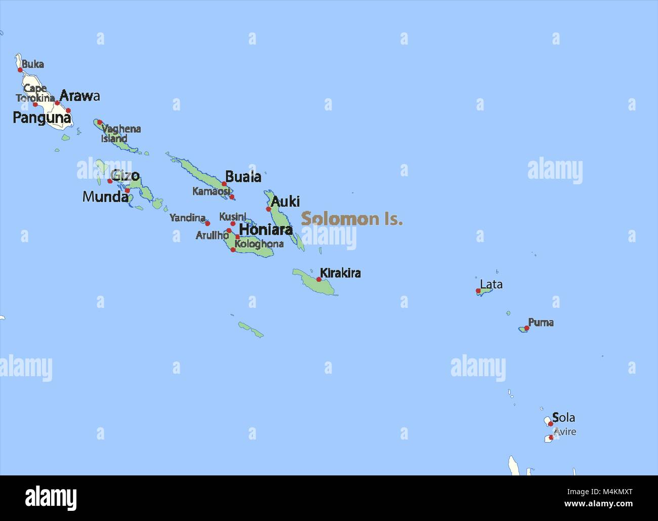 Map of Solomon Islands  Shows country borders, urban areas