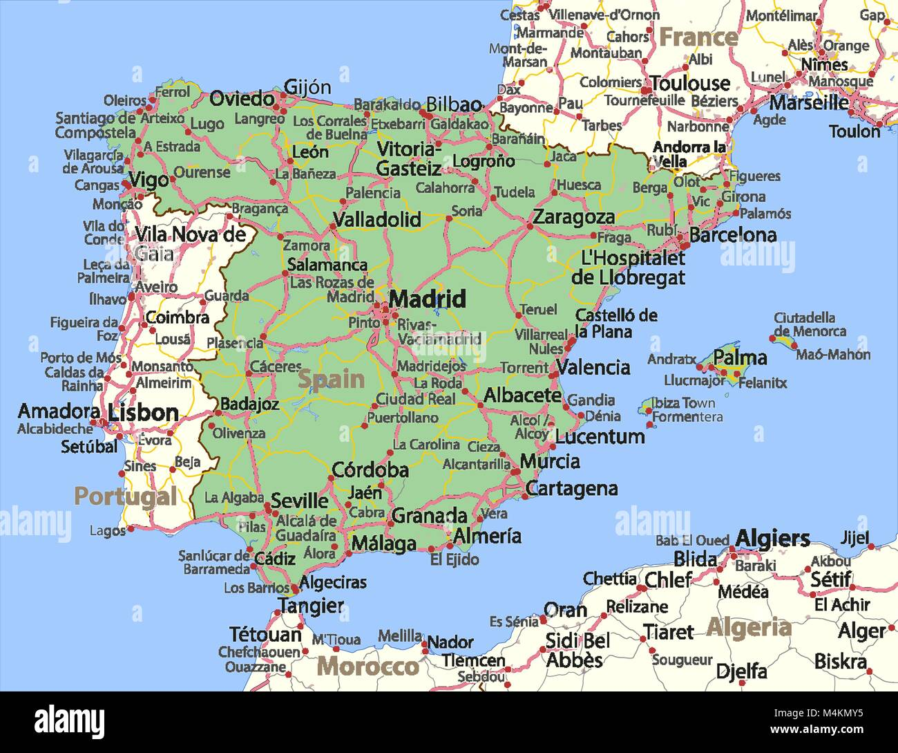 Detailed Map Of Spain In English.Spain Map Stock Photos Spain Map Stock Images Alamy