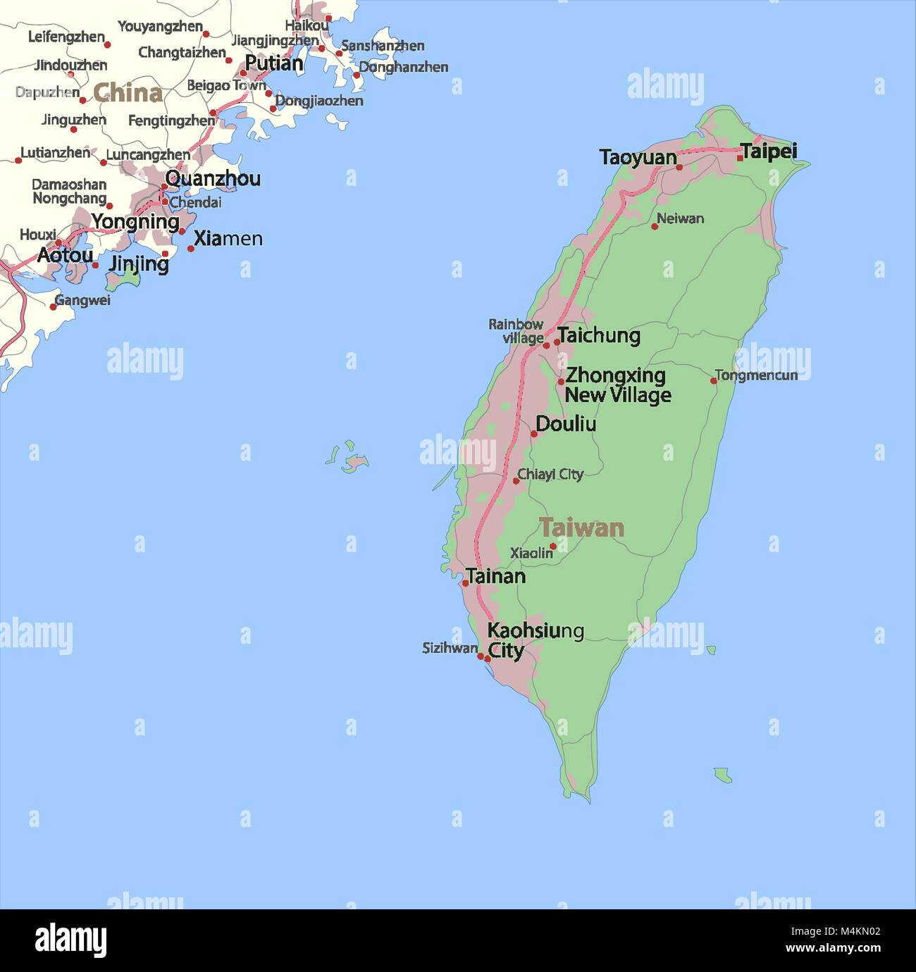 Map of Taiwan. Shows country borders, urban areas, place ...