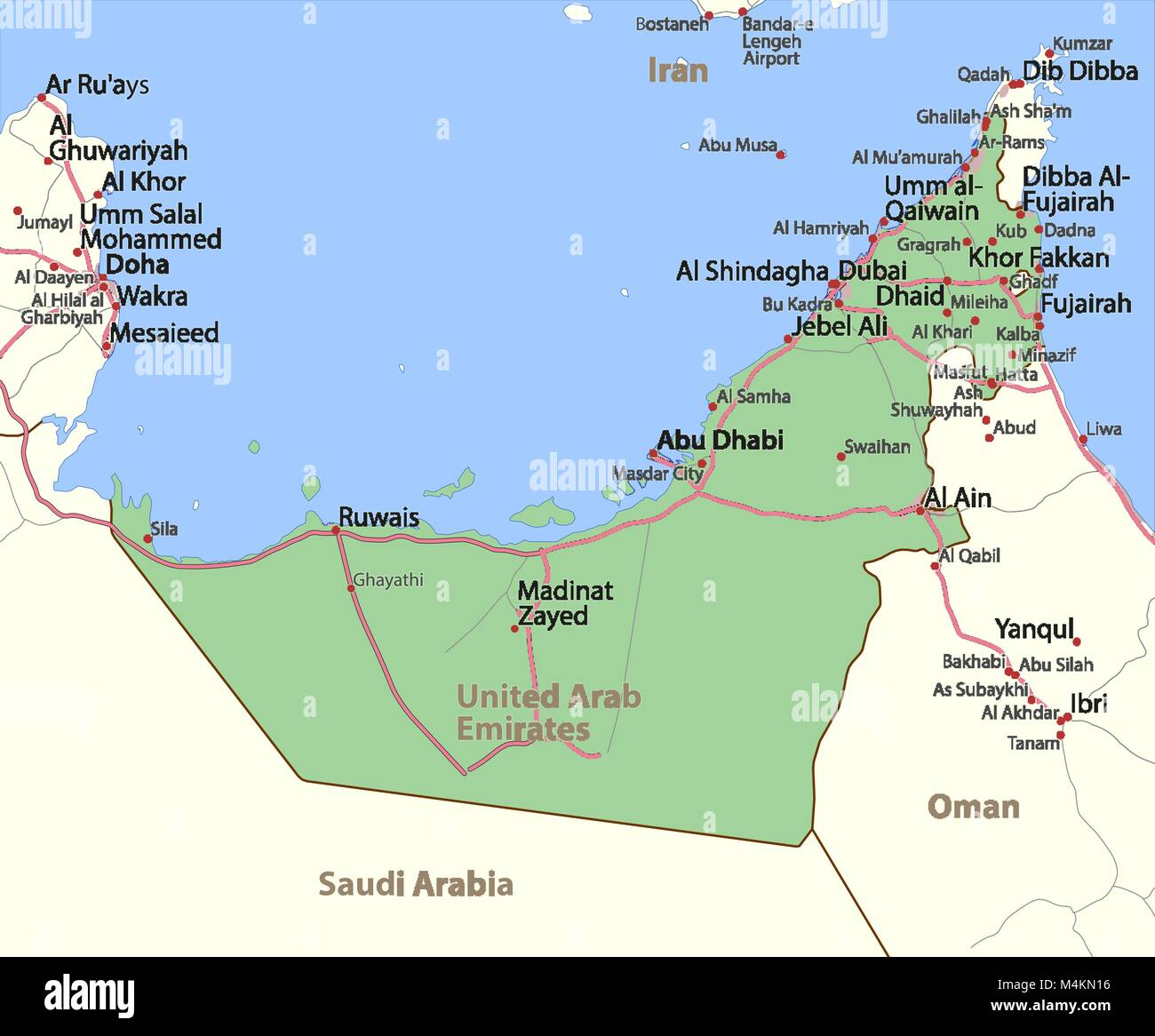 map of united arab emirates shows country borders urban areas place names and roads labels in english where possible projection mercator