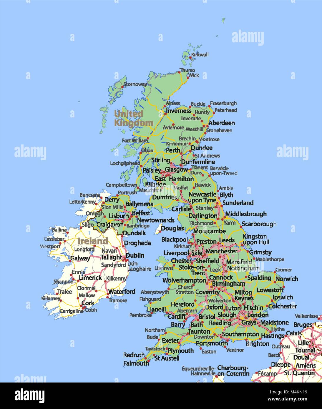 Map of the United Kingdom  Shows country borders, urban areas, place