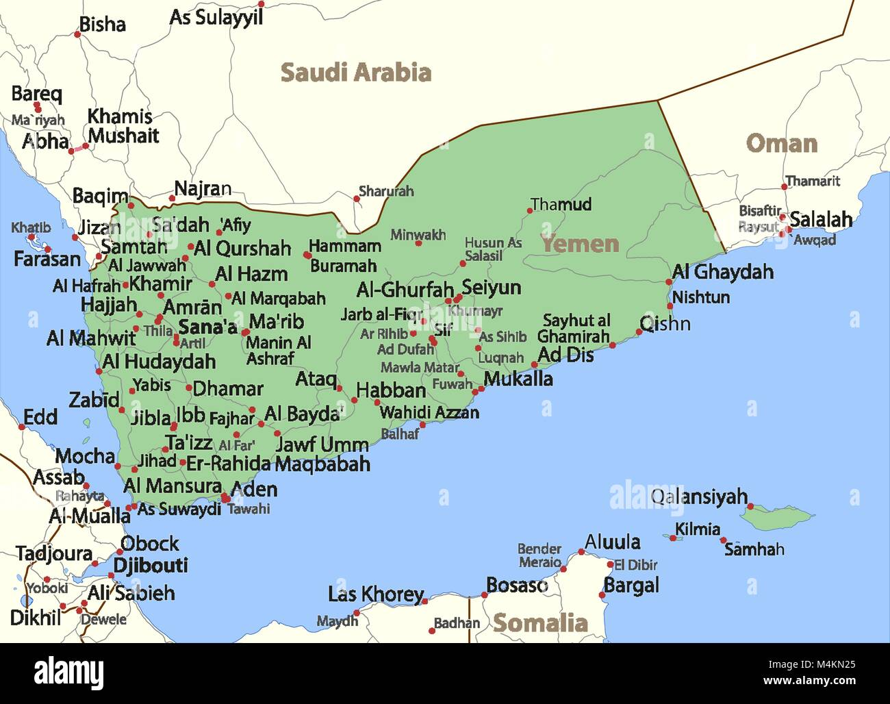 Map of Yemen. Shows country borders,  place names and roads. Labels in English where possible. Projection: Mercator. - Stock Vector