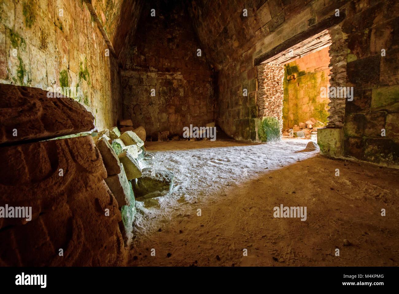 Inside of Palacio del Gobernador-Governor's Palace, Maya archeological site Uxmal, Yucatan Province, Mexico, - Stock Image