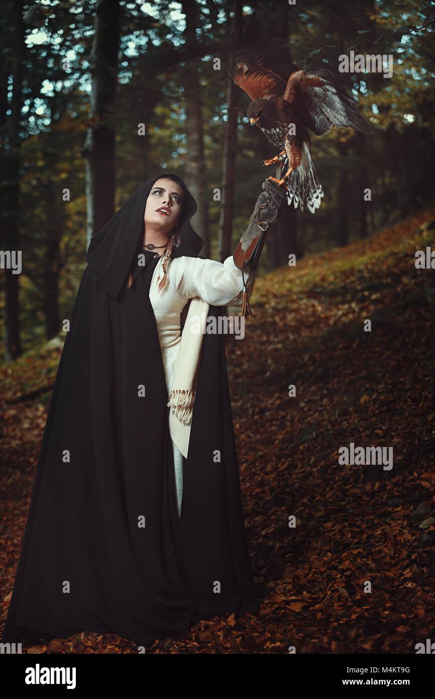 Master of the hawks. Fantasy and magic - Stock Image