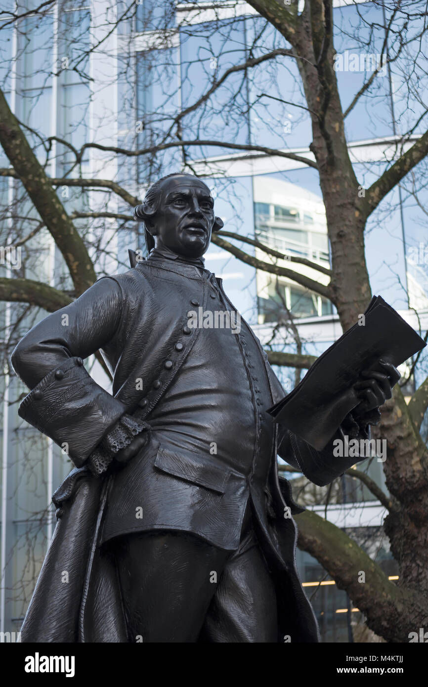 the 1988 bronze statue of the 18th century radical journalist and politician john wilkes by sculptor james butler, - Stock Image