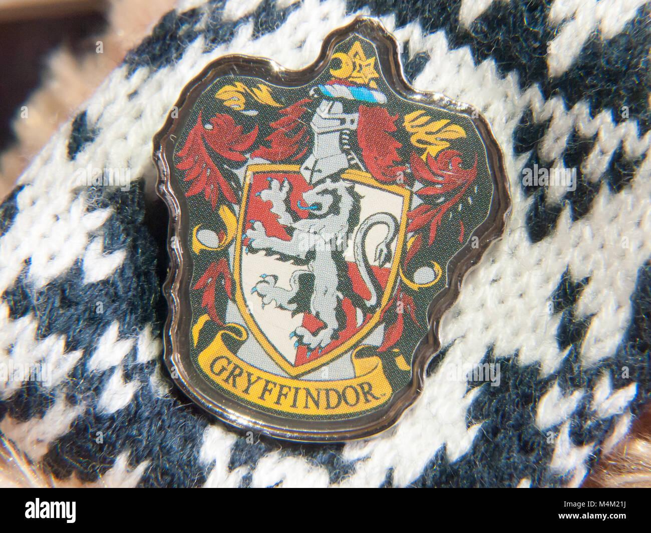 harry potter badge gryffindor house emblem detail - Stock Image